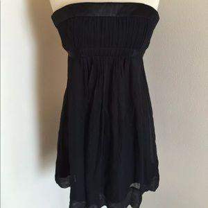 NEW BCBG Dress Women 0 Strapless Silk Woven Black